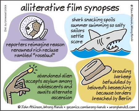 alliterative film synopses