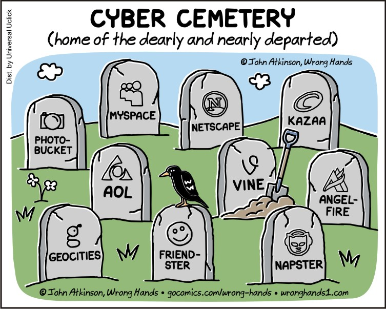 Comic of Cyber Cemetery (home of the dearly and nearly departed