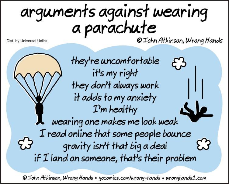 arguments against wearing a parachute