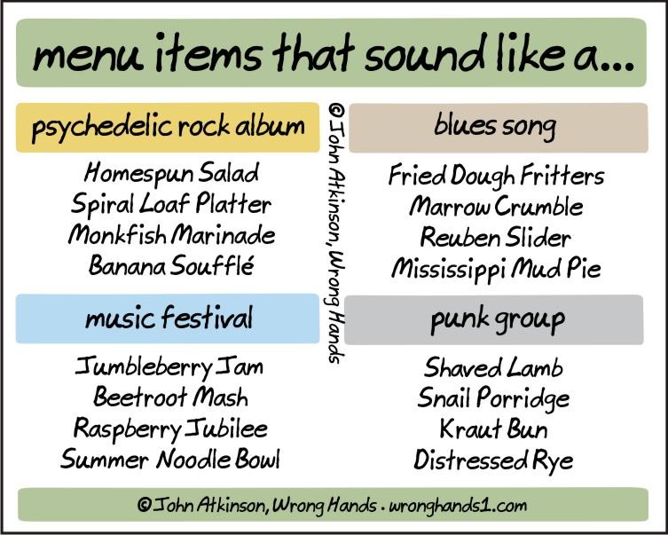 menu items that sound like a